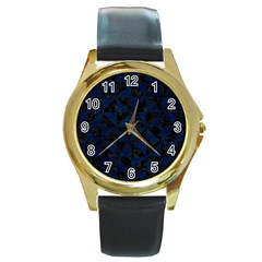 Triangle1 Black Marble & Blue Grunge Round Gold Metal Watch by trendistuff