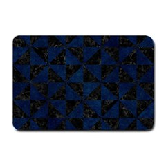Triangle1 Black Marble & Blue Grunge Small Doormat by trendistuff