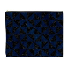 Triangle1 Black Marble & Blue Grunge Cosmetic Bag (xl) by trendistuff