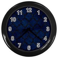 Tile1 Black Marble & Blue Grunge (r) Wall Clock (black) by trendistuff