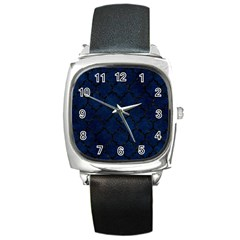 Tile1 Black Marble & Blue Grunge (r) Square Metal Watch by trendistuff