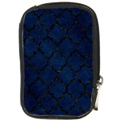 Tile1 Black Marble & Blue Grunge (r) Compact Camera Leather Case by trendistuff