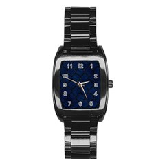 Tile1 Black Marble & Blue Grunge (r) Stainless Steel Barrel Watch by trendistuff