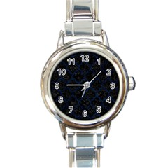 Tile1 Black Marble & Blue Grunge Round Italian Charm Watch by trendistuff