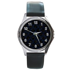 Tile1 Black Marble & Blue Grunge Round Metal Watch by trendistuff
