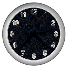 Tile1 Black Marble & Blue Grunge Wall Clock (silver) by trendistuff