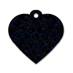 Tile1 Black Marble & Blue Grunge Dog Tag Heart (two Sides) by trendistuff