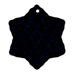 Tile1 Black Marble & Blue Grunge Snowflake Ornament (two Sides) by trendistuff