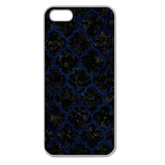 Tile1 Black Marble & Blue Grunge Apple Seamless Iphone 5 Case (clear) by trendistuff