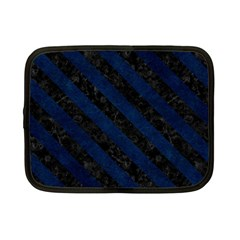 Stripes3 Black Marble & Blue Grunge (r) Netbook Case (small) by trendistuff