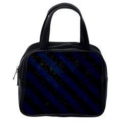 Stripes3 Black Marble & Blue Grunge (r) Classic Handbag (one Side)