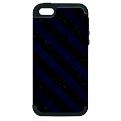 Stripes3 Black Marble & Blue Grunge (r) Apple Iphone 5 Hardshell Case (pc+silicone) by trendistuff