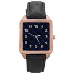 Stripes3 Black Marble & Blue Grunge (r) Rose Gold Leather Watch  by trendistuff