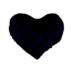 Stripes3 Black Marble & Blue Grunge Standard 16  Premium Heart Shape Cushion  by trendistuff