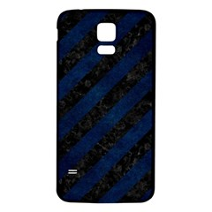 Stripes3 Black Marble & Blue Grunge Samsung Galaxy S5 Back Case (white) by trendistuff