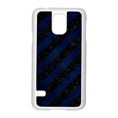 Stripes3 Black Marble & Blue Grunge Samsung Galaxy S5 Case (white) by trendistuff