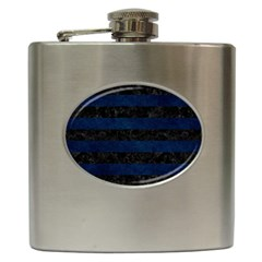 Stripes2 Black Marble & Blue Grunge Hip Flask (6 Oz) by trendistuff