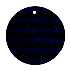Stripes2 Black Marble & Blue Grunge Round Ornament (two Sides) by trendistuff