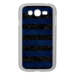 Stripes2 Black Marble & Blue Grunge Samsung Galaxy Grand Duos I9082 Case (white) by trendistuff