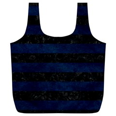 Stripes2 Black Marble & Blue Grunge Full Print Recycle Bag (xl) by trendistuff