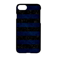 Stripes2 Black Marble & Blue Grunge Apple Iphone 7 Hardshell Case by trendistuff