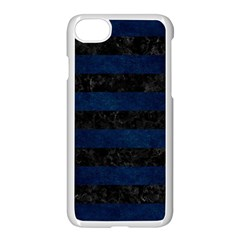 Stripes2 Black Marble & Blue Grunge Apple Iphone 7 Seamless Case (white) by trendistuff
