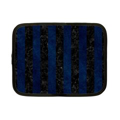 Stripes1 Black Marble & Blue Grunge Netbook Case (small) by trendistuff