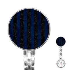 Stripes1 Black Marble & Blue Grunge Stainless Steel Nurses Watch by trendistuff