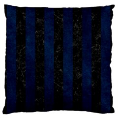 Stripes1 Black Marble & Blue Grunge Large Flano Cushion Case (two Sides) by trendistuff