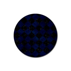Square2 Black Marble & Blue Grunge Rubber Coaster (round) by trendistuff