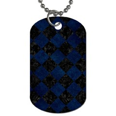 Square2 Black Marble & Blue Grunge Dog Tag (two Sides) by trendistuff