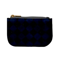 Square2 Black Marble & Blue Grunge Mini Coin Purse by trendistuff