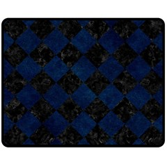 Square2 Black Marble & Blue Grunge Double Sided Fleece Blanket (medium) by trendistuff