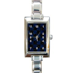 Square1 Black Marble & Blue Grunge Rectangle Italian Charm Watch by trendistuff