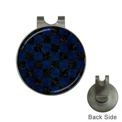 Square1 Black Marble & Blue Grunge Golf Ball Marker Hat Clip by trendistuff