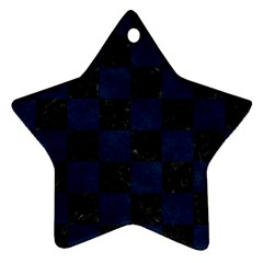 Square1 Black Marble & Blue Grunge Star Ornament (two Sides) by trendistuff