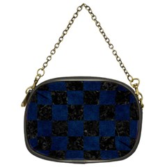 Square1 Black Marble & Blue Grunge Chain Purse (one Side) by trendistuff