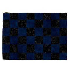 Square1 Black Marble & Blue Grunge Cosmetic Bag (xxl) by trendistuff
