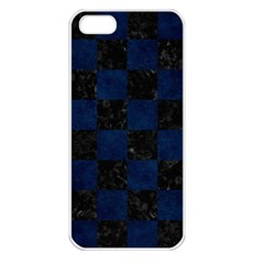 Square1 Black Marble & Blue Grunge Apple Iphone 5 Seamless Case (white) by trendistuff