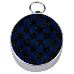 Square1 Black Marble & Blue Grunge Silver Compass by trendistuff