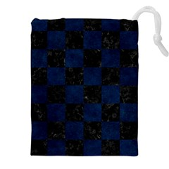 Square1 Black Marble & Blue Grunge Drawstring Pouch (xxl) by trendistuff