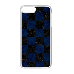 Square1 Black Marble & Blue Grunge Apple Iphone 7 Plus White Seamless Case by trendistuff