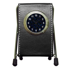 Skin5 Black Marble & Blue Grunge (r) Pen Holder Desk Clock by trendistuff