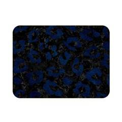 Skin5 Black Marble & Blue Grunge (r) Double Sided Flano Blanket (mini) by trendistuff