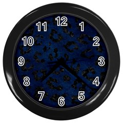 Skin5 Black Marble & Blue Grunge Wall Clock (black) by trendistuff