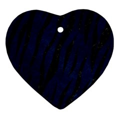Skin3 Black Marble & Blue Grunge (r) Heart Ornament (two Sides) by trendistuff