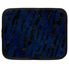 Skin3 Black Marble & Blue Grunge (r) Netbook Case (large) by trendistuff