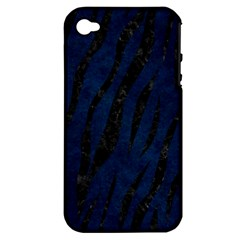 Skin3 Black Marble & Blue Grunge (r) Apple Iphone 4/4s Hardshell Case (pc+silicone) by trendistuff