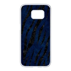 Skin3 Black Marble & Blue Grunge (r) Samsung Galaxy S7 Edge White Seamless Case by trendistuff