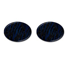 Skin3 Black Marble & Blue Grunge Cufflinks (oval) by trendistuff